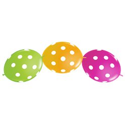 "Big Polka Dot Tropical Balloons - 12"" Latex"