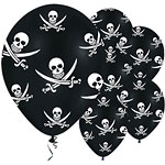 "Jolly Roger Pirate Balloons - 11"" Latex"