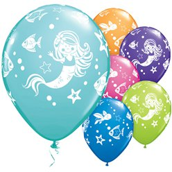 "Mermaid Assorted Balloons - 11"" Latex"
