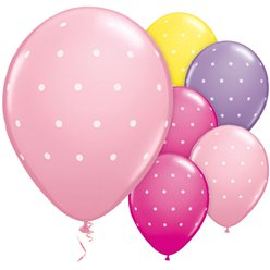 Small Polka Dot Pink & Purple Balloons - 11