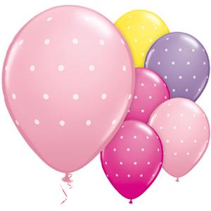 Small Polka Dot Pink & Purple Balloons - 11'' Latex