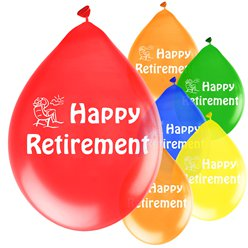 Happy Retirement Red Balloons - 9'' Latex