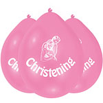 "Christening Pink Balloons - 9"" Latex"