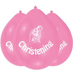 Christening Pink Balloons - 9'' Latex