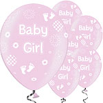 "Pretty Pink Baby Girl Balloons - 11"" Latex"