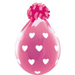 "Big Hearts Clear Valentines Stuffing Balloon - 18"" Latex"