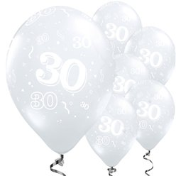 "30th Birthday Diamond Clear Balloons - 11"" Latex"