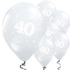 "40th Birthday or Anniversary Diamond Clear Balloons - 11"" Latex"