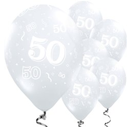 "50th Birthday Diamond Clear Balloons - 11"" Latex"