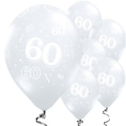 "60th Birthday Diamond Clear Balloons - 11"" Latex"