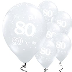 80th Birthday Diamond Clear Balloons - 11'' Latex