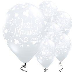 Just Married Diamond Clear Wedding Balloons - 11'' Latex