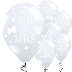 Mr and Mrs Diamond Clear Wedding Balloons - 11'' Latex