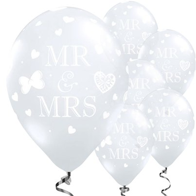 "Mr and Mrs Diamond Clear Wedding Balloons - 11"" Latex"