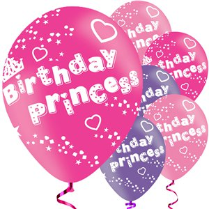 Birthday Princess Balloons - 11'' Latex