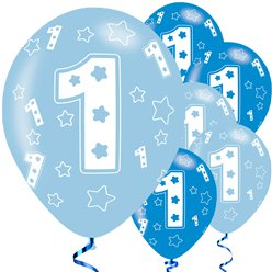 1st Birthday Blue Balloons - 11'' Latex