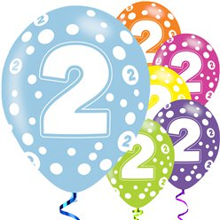 2nd Birthday Assorted Balloons - 11'' Latex