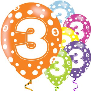 3rd Birthday Assorted Balloons - 11'' Latex