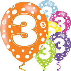 "3rd Birthday Assorted Balloons - 11"" Latex"