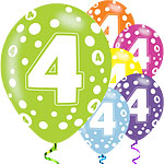 "4th Birthday Assorted Balloons - 11"" Latex"