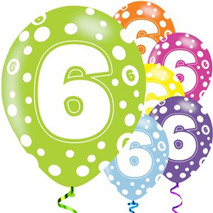 6th Birthday Assorted Balloons - 11'' Latex