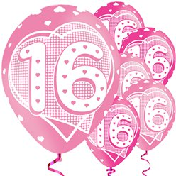 16th Birthday Assorted Balloons - 11'' Latex