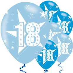 18th Birthday Blue Balloons - 11'' Latex