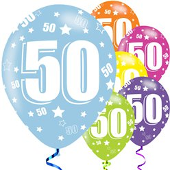 "50th Birthday Assorted Balloons - 11"" Latex"