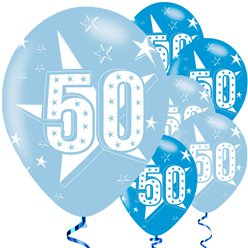50th Birthday Blue Balloons - 11'' Latex