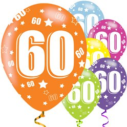60th Birthday Assorted Balloons - 11'' Latex