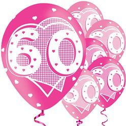 "60th Birthday Pink Balloons - 11"" Latex"