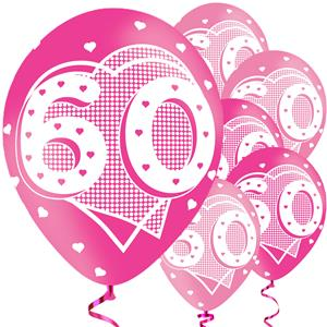 60th Birthday Pink Balloons - 11'' Latex