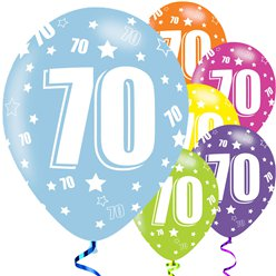 "70th Birthday Assorted Balloons - 11"" Latex"