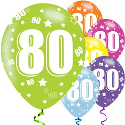 "80th Birthday Assorted Balloons - 11"" Latex"
