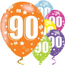"90th Birthday Assorted Balloons - 11"" Latex"