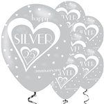 25th Silver Wedding Anniversary Balloons - 11'' Latex
