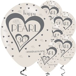 30th Pearl Wedding Anniversary Balloons - 11'' Latex