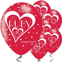 "40th Ruby Wedding Anniversary Balloons - 11"" Latex"