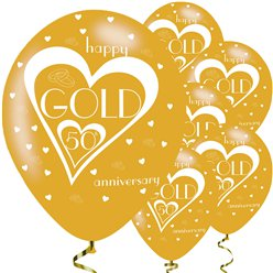 "50th Gold Wedding Anniversary Balloons - 11"" Latex"