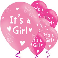 It's A Girl Balloons - 11'' Latex