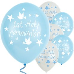 "Blue & White First Holy Communion Balloons - 11"" Latex"