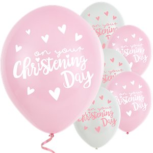 Pink Christening Day Latex Balloons - 11