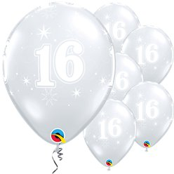 "16th Birthday Sparkle-A-Round Diamond Clear Balloon - 11"" Latex"