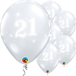 "21st Birthday Sparkle-A-Round Diamond Clear Balloon - 11"" Latex"