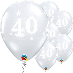 "40th Birthday Sparkle-A-Round Diamond Clear Balloon - 11"" Latex"