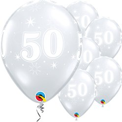 "50th Birthday Sparkle-A-Round Diamond Clear Balloon - 11"" Latex"