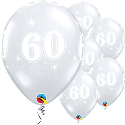 "60th Birthday Sparkle-A-Round Diamond Clear Balloon - 11"" Latex"