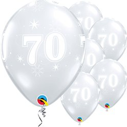 "70th Birthday Sparkle-A-Round Diamond Clear Balloon - 11"" Latex"