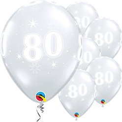 "80th Birthday Sparkle-A-Round Diamond Clear Balloon - 11"" Latex"
