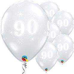 "90th Birthday Sparkle-A-Round Diamond Clear Balloon - 11"" Latex"